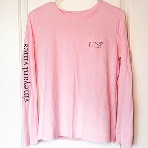 Vineyard Vines Long-Sleeve Flamingo Pink Whale Tee